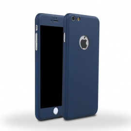 Capa Full Cover 360º + Película de Vidro Temperado Para iPhone 8 Plus - Azul Navy