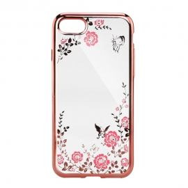 Capa Gel Transparente Com Rebordos Coloridos Com Flores e Borboletas Para Apple iPhone 6 Plus / 6S Plus