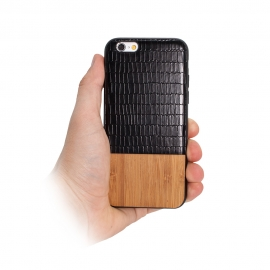 "Capa ""Wood"" Para iPhone 8 - Preto"