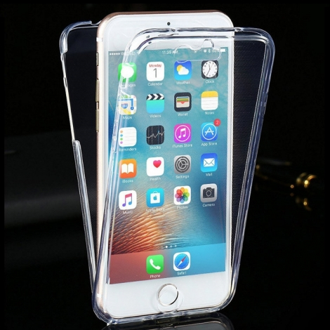 Capa Full Cover 360º Transparente em Gel / TPU Para iPhone 8 Plus
