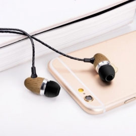 Auriculares 3,5 mm Stereo Com Micro Madeira Natural