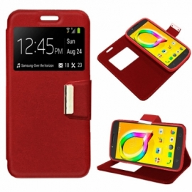 Bolsa Flip Cover Alcatel A5 Led Liso Vermelha