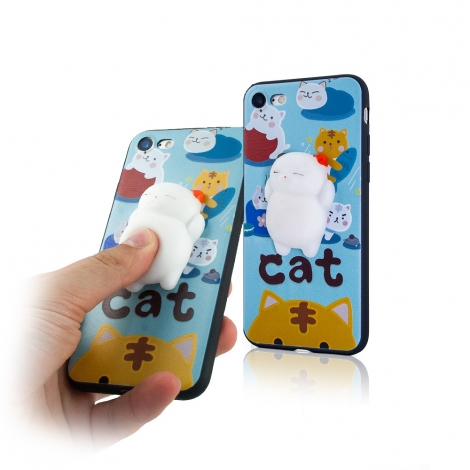 Capa Gel com Gato Branco (Squishy) Para iPhone 6 / 6S
